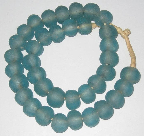 Light Aqua Recycled Glass Beads (Large)