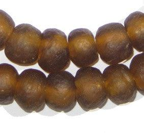 Amber Color Recycled Glass Beads (14mm) - The Bead Chest