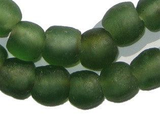Deep Green Recycled Glass Beads (14mm) - The Bead Chest