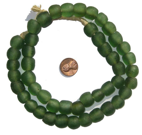 Deep Green Recycled Glass Beads (14mm)