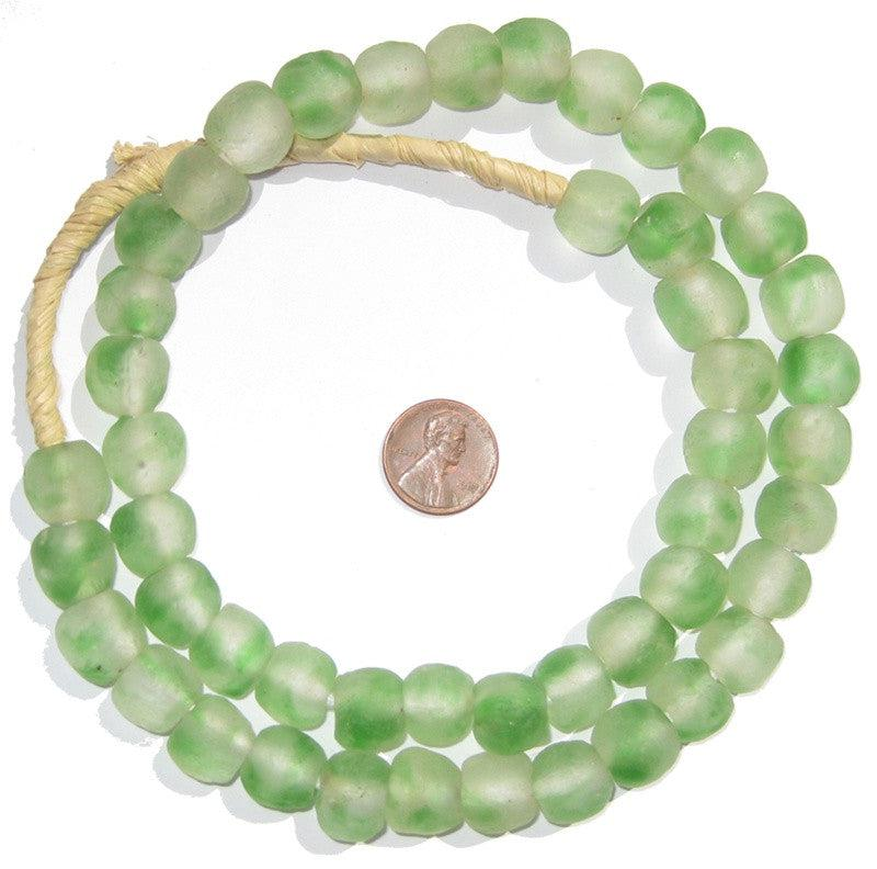 Green Swirl Recycled Glass Beads (14mm) - The Bead Chest