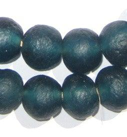Teal Recycled Glass Beads (18mm) - The Bead Chest