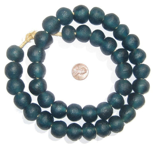 Teal Recycled Glass Beads (18mm)