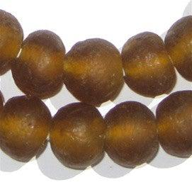 Amber Color Recycled Glass Beads (18mm) - The Bead Chest