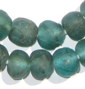 Aqua Black Swirl Recycled Glass Beads (18mm) - The Bead Chest