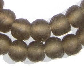 Groundhog Grey Recycled Glass Beads (14mm)