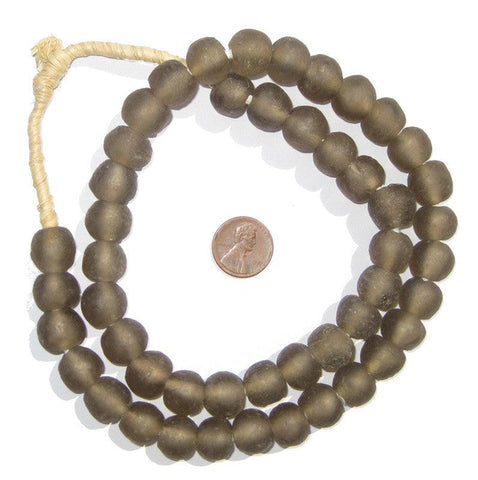 Groundhog Grey Recycled Glass Beads (14mm) - The Bead Chest