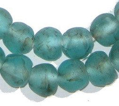 Aqua Black Swirl Recycled Glass Beads (14mm) - The Bead Chest