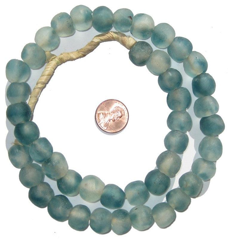 Blue Wave Marine Recycled Glass Beads (14mm) - The Bead Chest