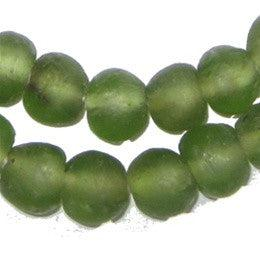 Asparagus Green Recycled Glass Beads (14mm) - The Bead Chest