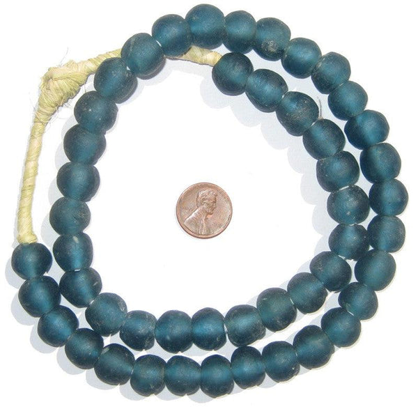 Teal Recycled Glass Beads (14mm)