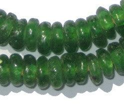 Green Rondelle Recycled Glass Beads - The Bead Chest