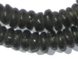 Black Rondelle Recycled Glass Beads - The Bead Chest