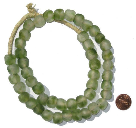 Dark Green Swirl Recycled Glass Beads (14mm) - The Bead Chest