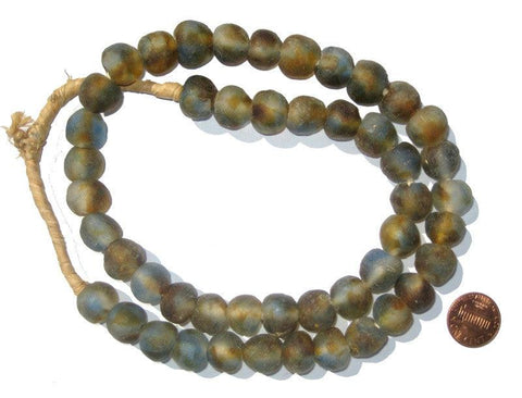 Blue Brown Swirl Recycled Glass Beads (14mm) - The Bead Chest