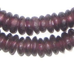 Purple Rondelle Recycled Glass Beads - The Bead Chest