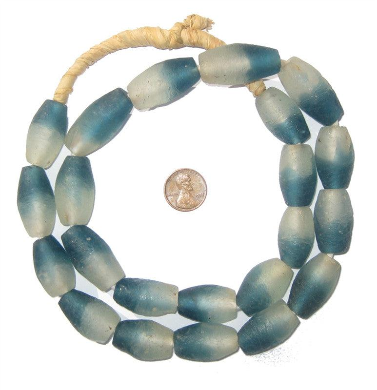 Teal Fade Oblong Recycled Glass Beads - The Bead Chest
