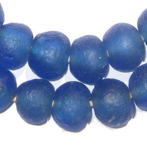 Blue Recycled Glass Beads (18mm) - The Bead Chest