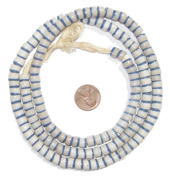 Blue-White Stripe Sandcast Cylinder Beads