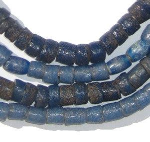 Old Ibo Blue Sandcast Beads - The Bead Chest