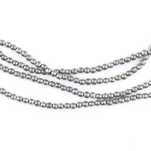 Tiny Dark Silver Melon Beads (2mm) - The Bead Chest