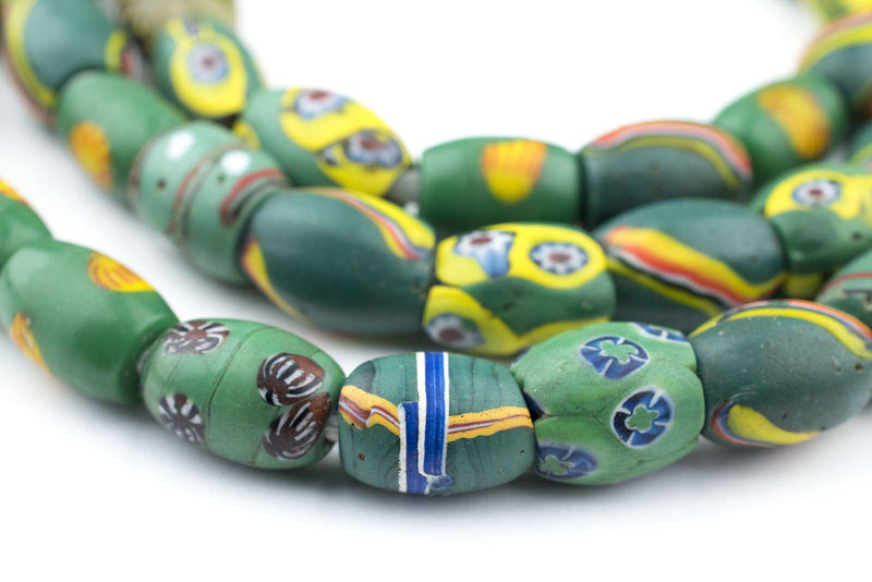 Oval Antique Venetian African Millefiori Trade Beads - The Bead Chest
