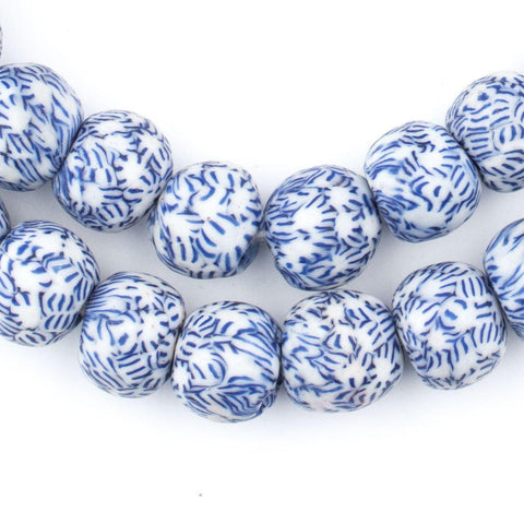Image of Blue & White Fused Recycled Glass Beads - The Bead Chest