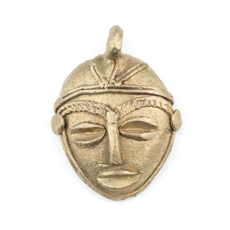 African Brass Mask Pendant (39x35mm) - The Bead Chest