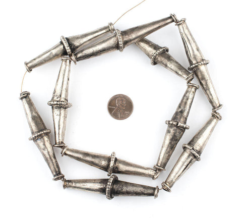 Elongated Ethiopian Silver Bicone Beads - The Bead Chest