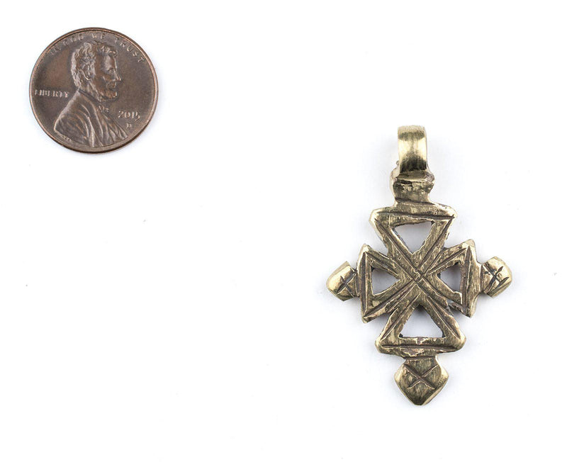 Brass Ethiopian Coptic Cross (Small) - The Bead Chest