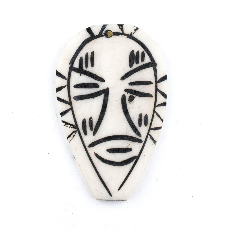 Carved White Kenya Bone Mask Pendant - The Bead Chest