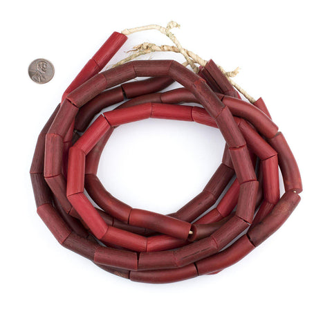 Image of Red Vintage Ovally Ghana Resin Beads - The Bead Chest