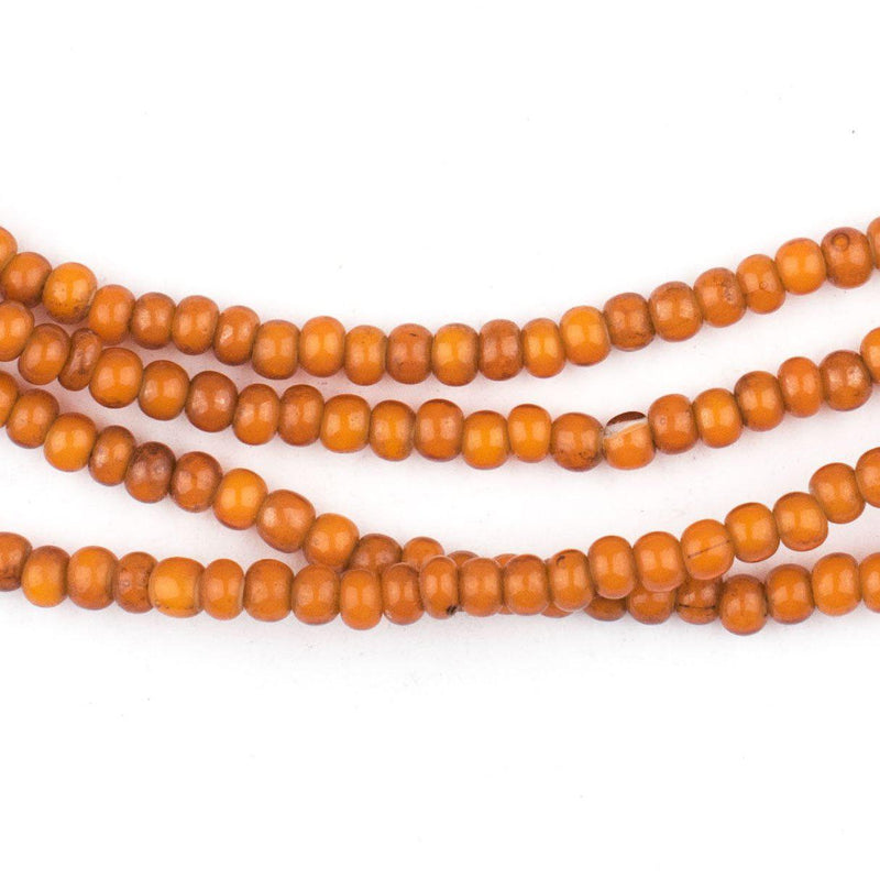 Vintage Style Orange White Heart Beads (4mm) - The Bead Chest