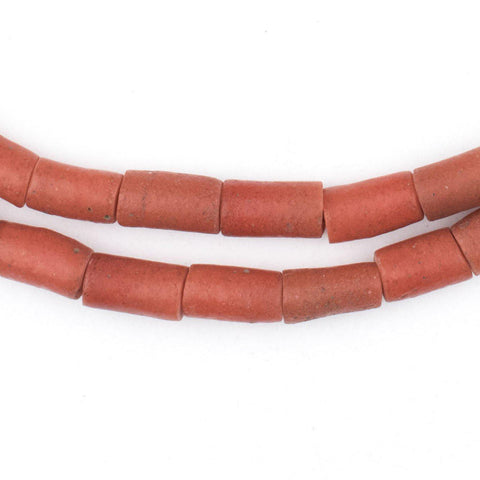 Yoruba Mock Coral Sandcast Tube Beads (12x6mm) - The Bead Chest