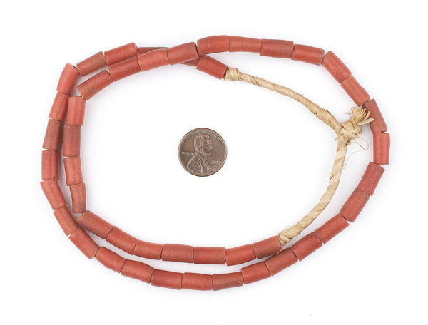 Yoruba Mock Coral Sandcast Tube Beads (12x6mm)