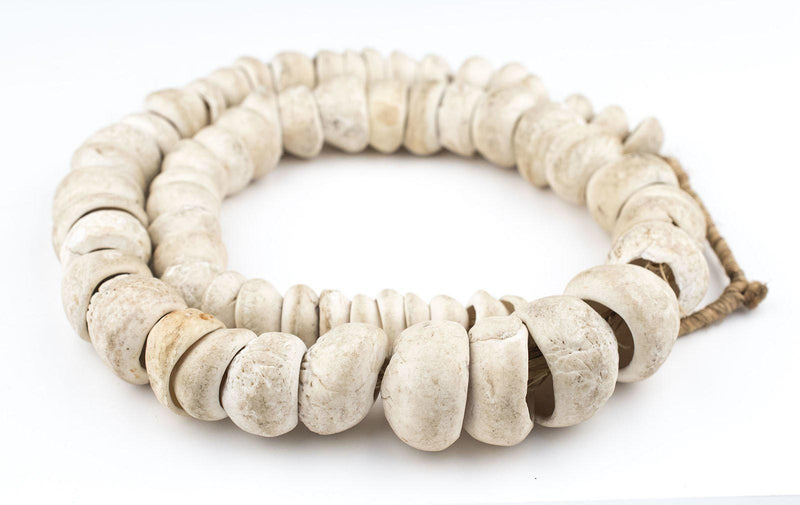 Jumbo Natural West African Shell Beads (White) - The Bead Chest