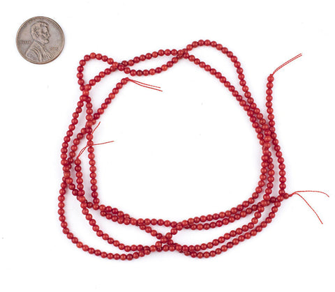 Crimson Red Bamboo Coral Seed Beads (3mm) - The Bead Chest