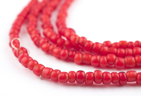 Bright Red White Heart Beads (4mm) - The Bead Chest