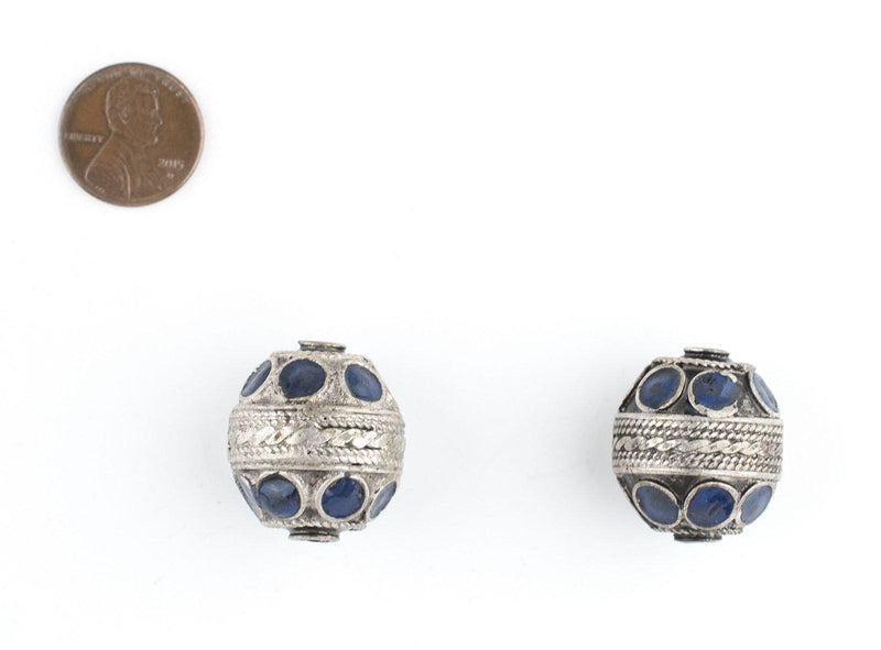 Blue Enamel Oval Berber Beads (Set of 2)