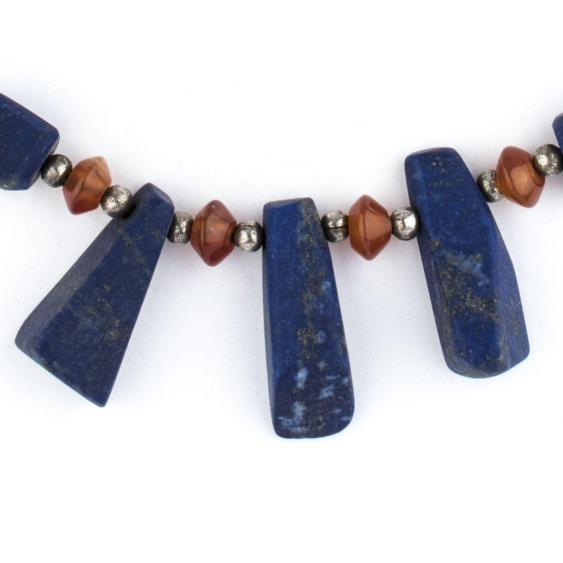 Natural Afghani Stone Lapis Dangle Necklace - The Bead Chest
