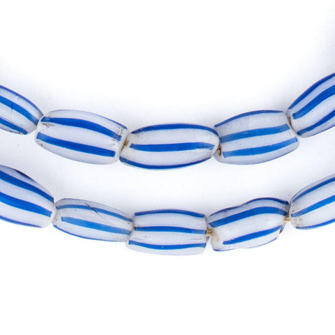 Image of Blue & White Venetian Watermelon Chevron Beads (14x7mm) - The Bead Chest