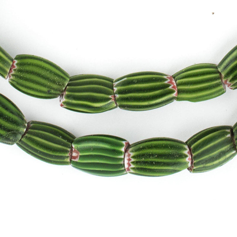 Green Flat Watermelon Venetian Chevron Beads (14x7mm) - The Bead Chest