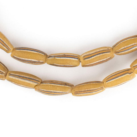 Rustic Yellow Venetian Watermelon Chevron Beads (14x6mm) - The Bead Chest