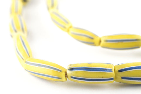 Yellow & Blue Venetian Watermelon Chevron Beads (16x7mm) - The Bead Chest