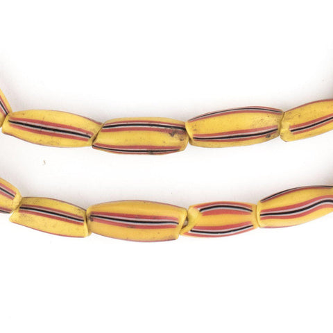 Image of Bright Yellow & Red Venetian Watermelon Chevron Beads (14x7mm) - The Bead Chest