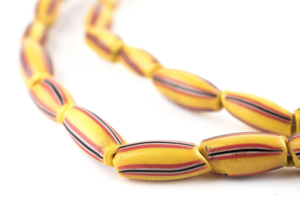 Bright Yellow & Red Venetian Watermelon Chevron Beads (14x7mm) - The Bead Chest