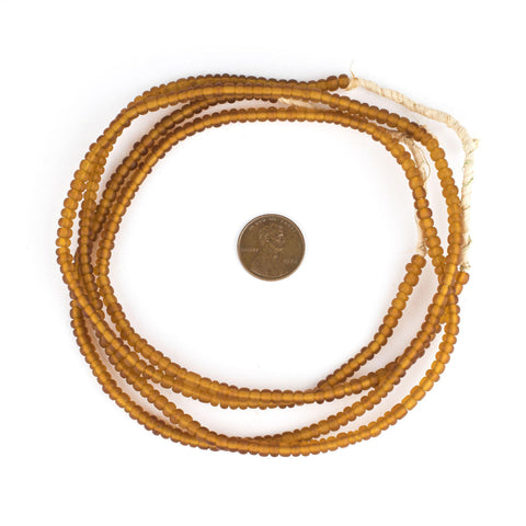 Matte Amber Ghana Glass Seed Beads (4mm) - The Bead Chest