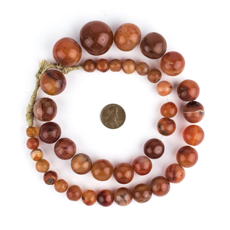 Carnelian Stone Sphere Beads (Graduated) - The Bead Chest