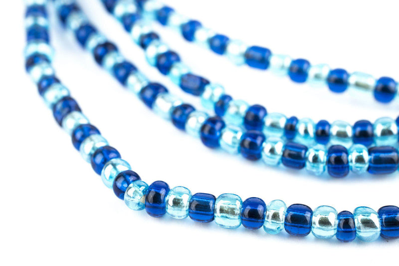 Blue Medley Ghana Glass Seed Beads (4mm) - The Bead Chest