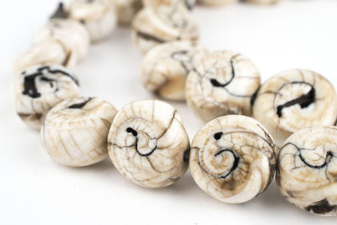Circular Spiral Naga Shell Beads (17mm) - The Bead Chest